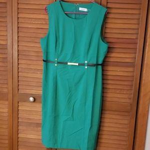 CK belted green sheath dress